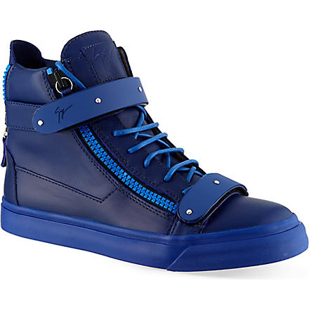 GIUSEPPE ZANOTTI Double bangle mono hi-top trainers (Blue