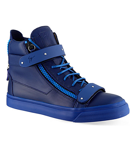 GIUSEPPE ZANOTTI Double bangle mono hi-top trainers (Blue