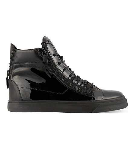 GIUSEPPE ZANOTTI Patent double zip hi-top trainers (Black