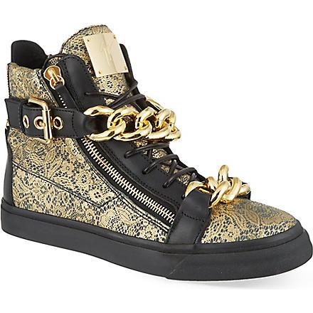 GIUSEPPE ZANOTTI Double chain lace hi-top trainers (Gold