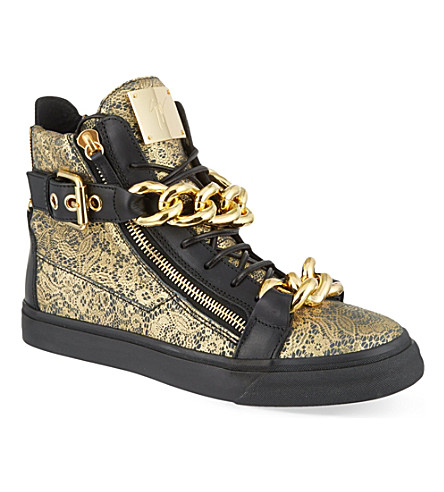 GIUSEPPE ZANOTTI Double chain lace hi-top trainers (Gold