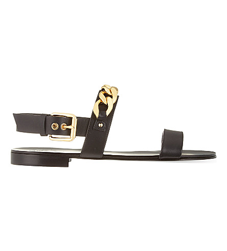 GIUSEPPE ZANOTTI Chain-detail leather sandals (Blk/other