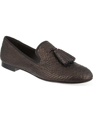 GIUSEPPE ZANOTTI Snake-skin embossed leather slippers