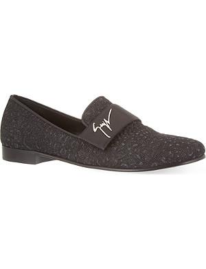GIUSEPPE ZANOTTI Denim reptile embossed slippers
