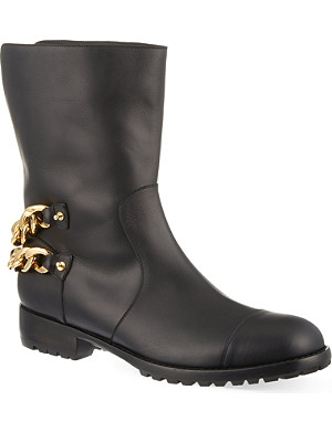 GIUSEPPE ZANOTTI Chain trim leather calf boots