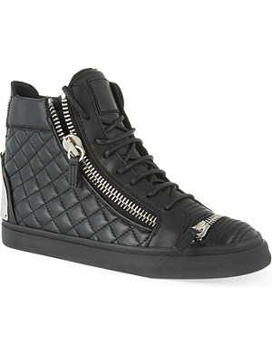 GIUSEPPE ZANOTTI Quilted zip-up high-top trainers