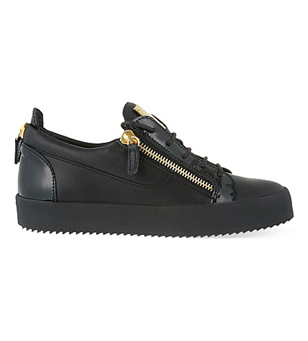 GIUSEPPE ZANOTTI Mixed leather trainers (Black