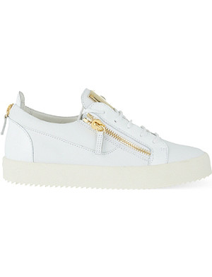 GIUSEPPE ZANOTTI Patent mixed leather trainers