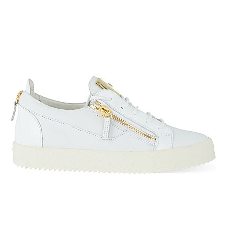 GIUSEPPE ZANOTTI Patent mixed leather trainers (White
