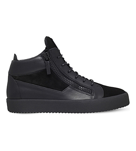 GIUSEPPE ZANOTTI Kriss suede & leather mid-top trainers (Black