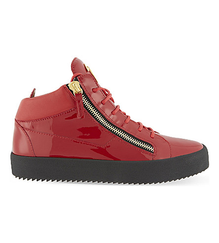 GIUSEPPE ZANOTTI Patent leather mid-top sneakers (Red
