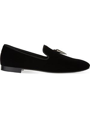 GIUSEPPE ZANOTTI Sharktooth velvet slippers