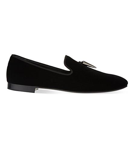 GIUSEPPE ZANOTTI Sharktooth velvet slippers (Black