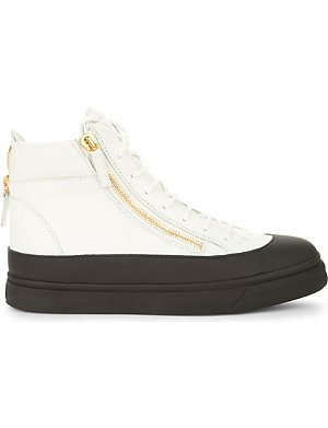 GIUSEPPE ZANOTTI Zipped leather high-top trainers