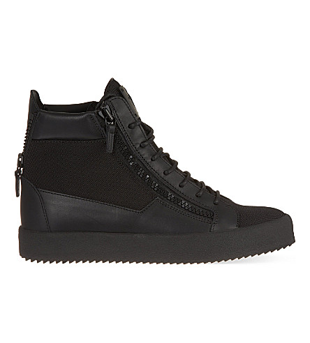 GIUSEPPE ZANOTTI Zip-fastened high-top trainers (Black