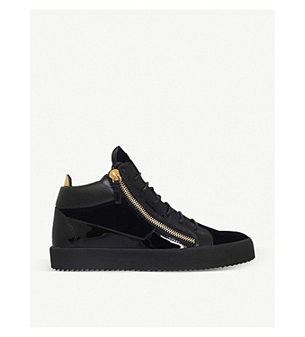 GIUSEPPE ZANOTTI Kriss velvet and patent leather trainers (Navy