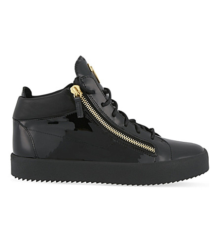 GIUSEPPE ZANOTTI Mid-top patent leather trainers (Black