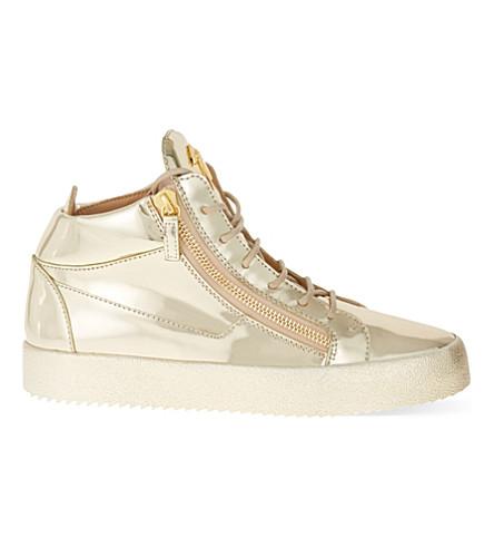 GIUSEPPE ZANOTTI Metallic leather mid-top trainers (Gold