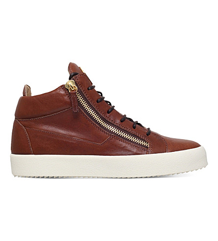GIUSEPPE ZANOTTI Daniel leather mid-top sneakers (Tan