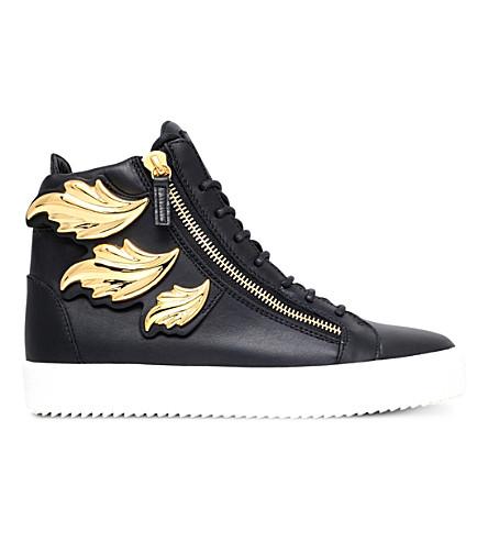 GIUSEPPE ZANOTTI Kanye Wing leather high-top sneakers (Black