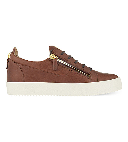 GIUSEPPE ZANOTTI Zipped leather trainers (Tan