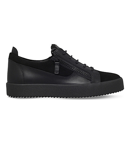GIUSEPPE ZANOTTI Leather and suede low-top trainers (Black