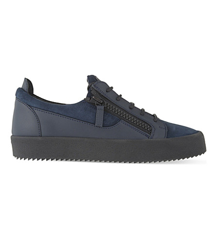 GIUSEPPE ZANOTTI Mixed low-top trainers (Blue