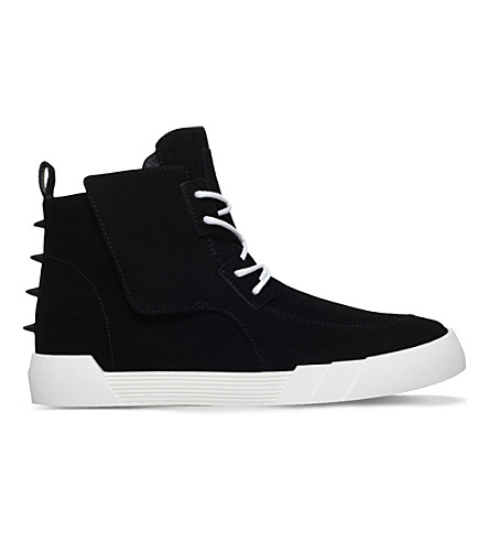 GIUSEPPE ZANOTTI Shark high-top suede trainers (Black