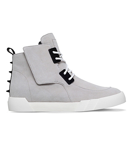 GIUSEPPE ZANOTTI Shark high-top suede trainers (Grey/light