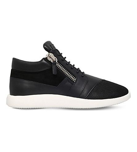 GIUSEPPE ZANOTTI Panelled woven runner trainers (Black