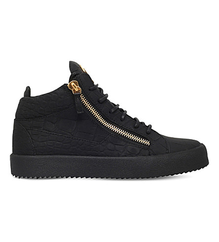 GIUSEPPE ZANOTTI Kriss matte crocodile-effect leather trainers (Black