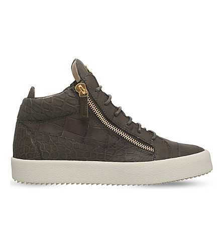 GIUSEPPE ZANOTTI Kriss matte croc-embossed leather trainers (Khaki