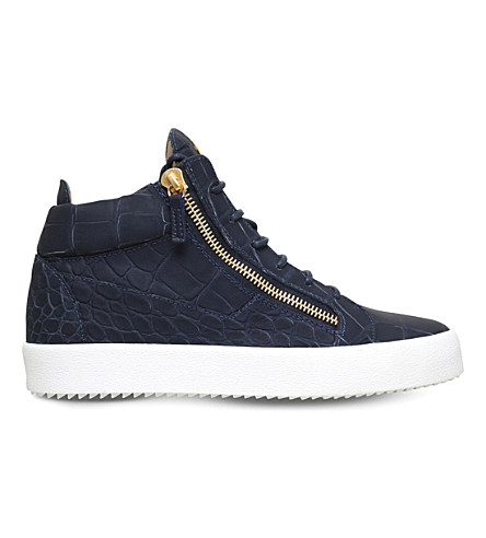GIUSEPPE ZANOTTI Kriss matte crocodile-effect leather trainers (Navy