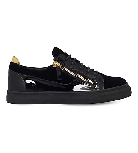 GIUSEPPE ZANOTTI Leather and velvet low-top trainers (Navy