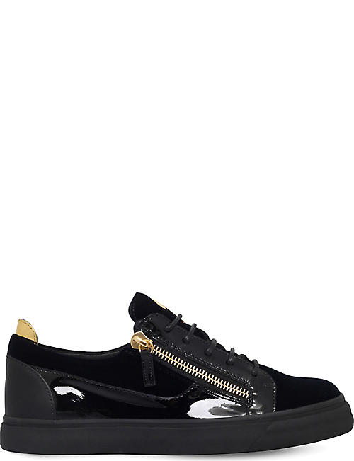 GIUSEPPE ZANOTTI Leather and velvet lowtop trainers