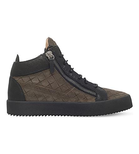 GIUSEPPE ZANOTTI Diamond embossed leather trainers (Khaki