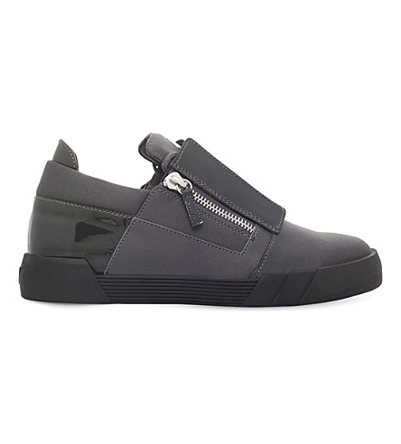 GIUSEPPE ZANOTTI Blind panelled leather trainers (Grey