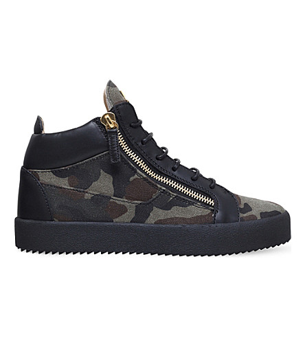 GIUSEPPE ZANOTTI Kriss camo-print canvas and leather mid-top trainers (Khaki