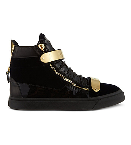 GIUSEPPE ZANOTTI - Double-bangle velvet high-top trainers ... c9db8e6e889e