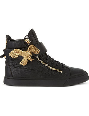 GIUSEPPE ZANOTTI Eagle-buckle leather high-top trainers