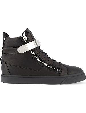 GIUSEPPE ZANOTTI Single-bangle leather high-top trainers