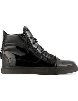 GIUSEPPE ZANOTTI Patent double zip high-top trainers