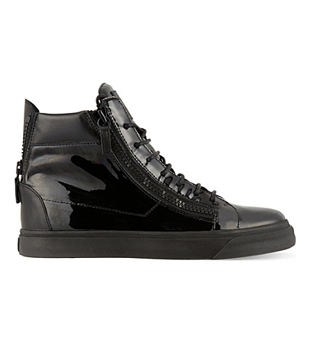 GIUSEPPE ZANOTTI Patent double zip high-top trainers (Black