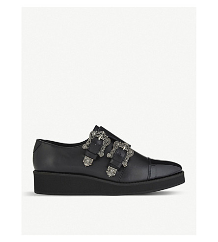 THE KOOPLES Leather monk strap creepers (Bla01