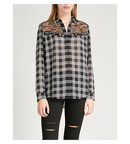 THE KOOPLES Lola lace-detail crepe shirt (Bla28