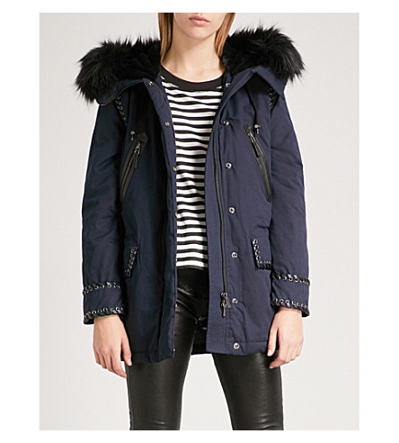 THE KOOPLES Faux-fur trim hood parka coat (Nav03