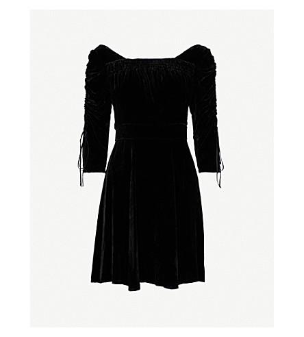 THE KOOPLES Smocking-detail velvet dress (Bla01