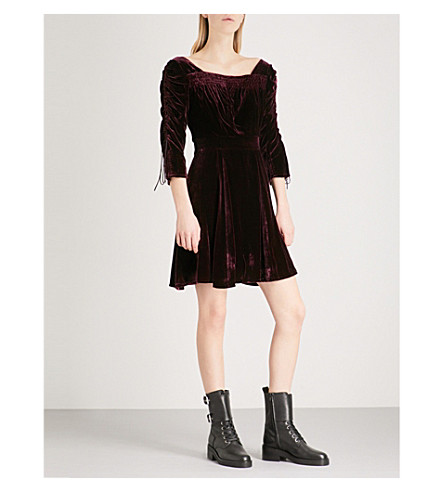 THE KOOPLES Smocking-detail velvet dress (Bur01