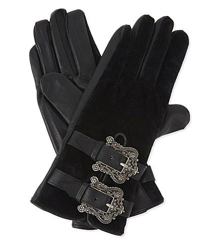 THE KOOPLES Leather and velvet gloves (Bla01