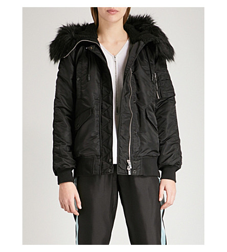THE KOOPLES Faux-fur trimmed shell bomber jacket (Bla01